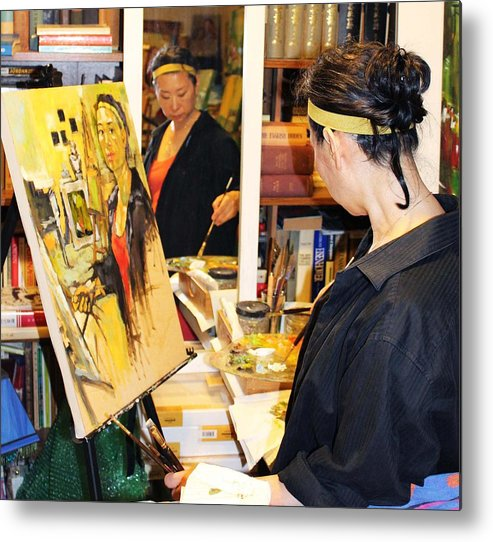 Behind The Scene Metal Print featuring the painting Behind The Scenes - Painting Self Portraits by Becky Kim