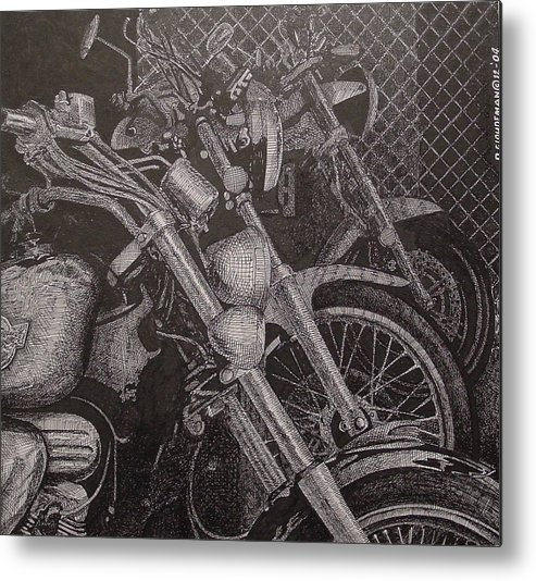 Motorcycles Metal Print featuring the drawing Bikes by Denis Gloudeman