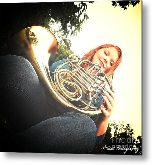 Metal Print featuring the photograph French Horn Below by Allicat Photography