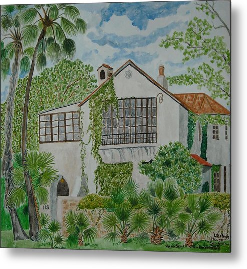 Historic Home Metal Print featuring the painting L.b. Clegg House In San Antonio by Vera Smith