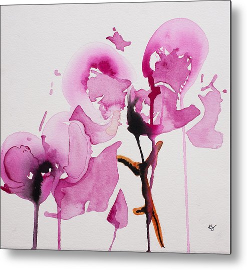 Orchid Metal Print featuring the painting Orchid Study I by Karin Johannesson