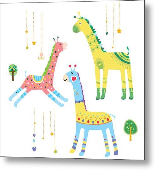 Horizontal Metal Print featuring the digital art Close-up Of Giraffes by Eastnine Inc.