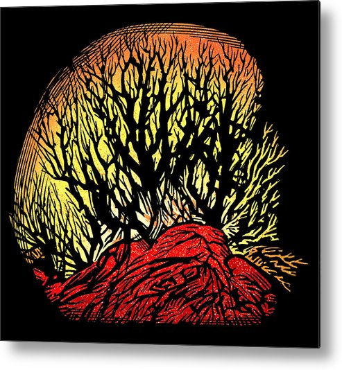 Tree Metal Print featuring the photograph Forest Fire, Lino Print by Gary Hincks