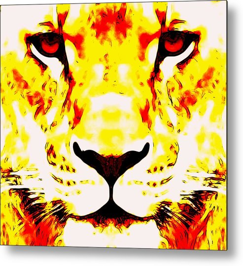 Lion Abstract Metal Print featuring the digital art Lion In Winter by Devalyn Marshall