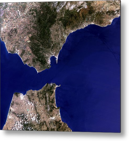 Strait Of Gibraltar Metal Print featuring the photograph Satellite Image Of The Strait Of Gibraltar by Planetobserver