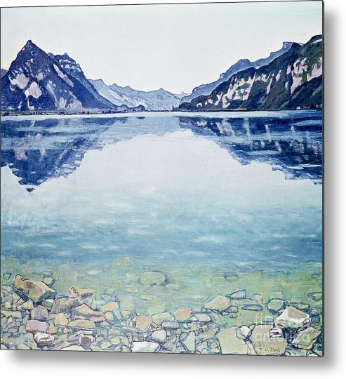 Lake Metal Print featuring the painting Thunersee Von Leissigen by Ferdinand Hodler