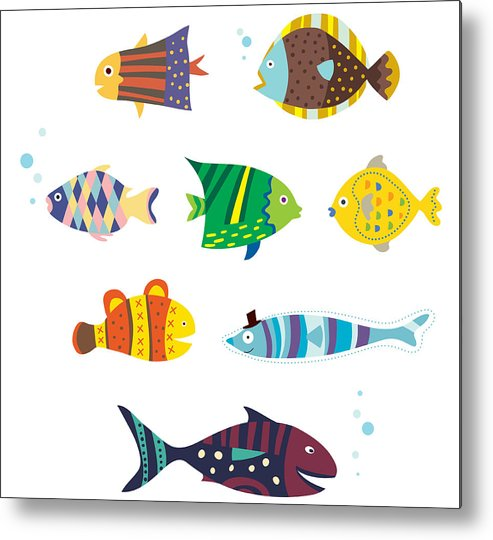 Horizontal Metal Print featuring the digital art Various Fishes by Eastnine Inc.