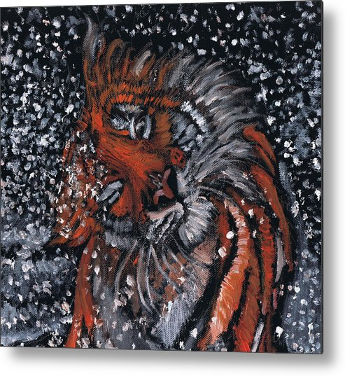 Animal Metal Print featuring the painting Tiger Bathing by Demian Legg