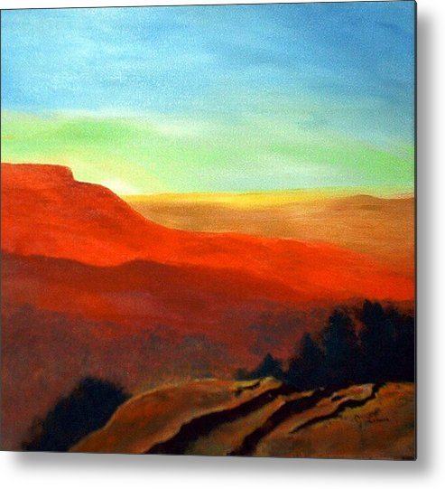 Landscape Metal Print featuring the painting Anew by Julie Lamons
