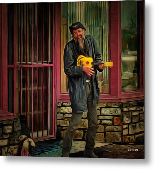 Music Metal Print featuring the photograph Austin Musician Plays The Blues by PhotoArt By Gretchen