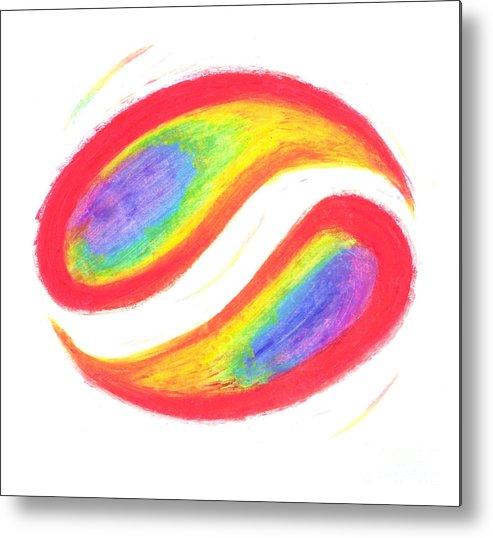 Rainbow Metal Print featuring the pastel Balance by Chandelle Hazen
