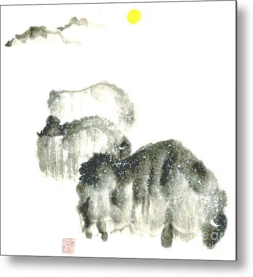 A Herd Of Bison Grazing In Snow. This Is A Contemporary Chinese Ink And Color On Rice Paper Painting With Simple Zen Style Brush Strokes.  Metal Print featuring the painting Bison In Snow II by Mui-Joo Wee