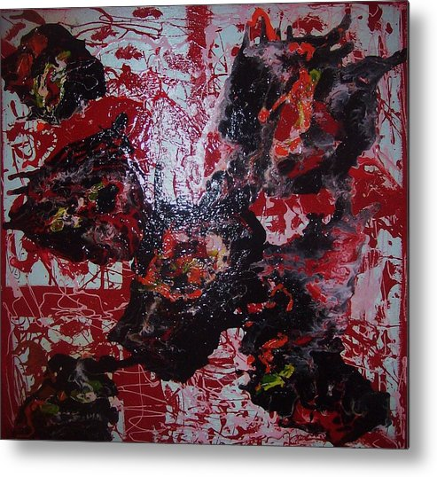 Art Metal Print featuring the painting black Out by HollyWood Creation By linda zanini