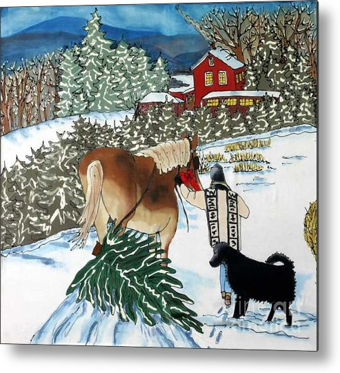 Christmas Metal Print featuring the painting Bringing Home The Tree by Linda Marcille