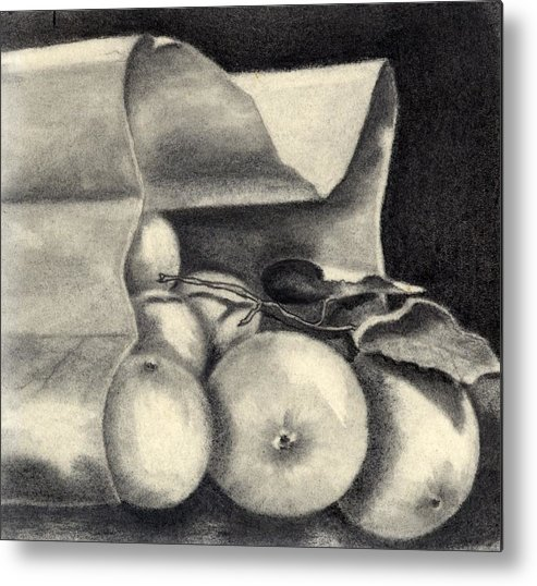 Still Life Metal Print featuring the drawing Brown Bag by Penny Everhart