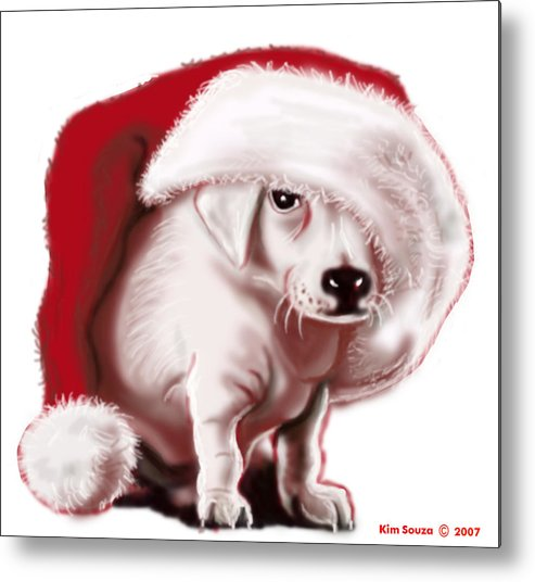 Christmas Metal Print featuring the painting Christmas Pup by Kim Souza