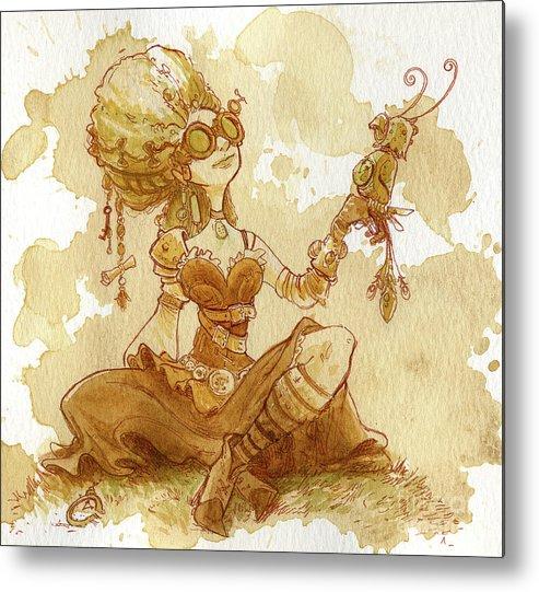 Steampunk Metal Print featuring the painting Darjeeling by Brian Kesinger