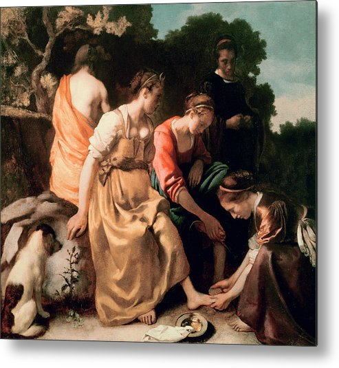 Diana And Her Companions Metal Print featuring the painting Diana And Her Companions by Jan Vermeer