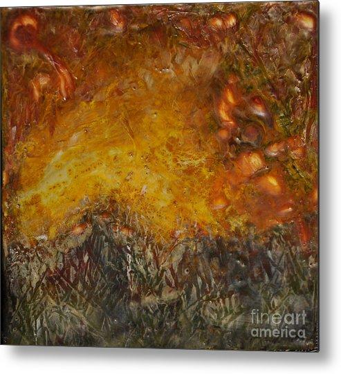Encaustic Metal Print featuring the painting Encaustic Sky Blaze by Linda Rutledge