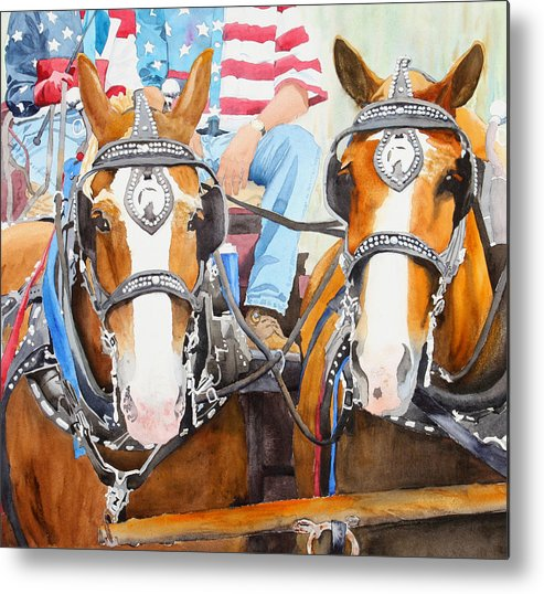 Belgian Metal Print featuring the painting Everybody Loves A Parade by Ally Benbrook