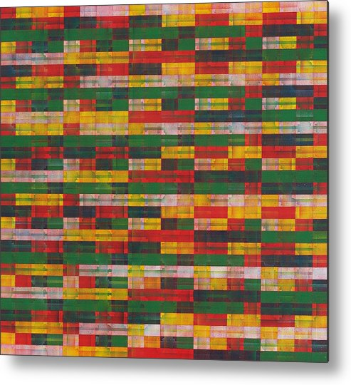 Abstract Pattern Green Red Yellow White Metal Print featuring the painting Fac5-horizontal by Joan De Bot