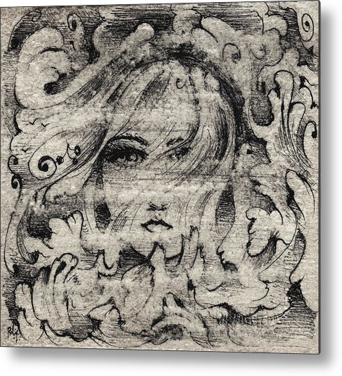 Storm Metal Print featuring the drawing Face In The Storm by William Russell Nowicki