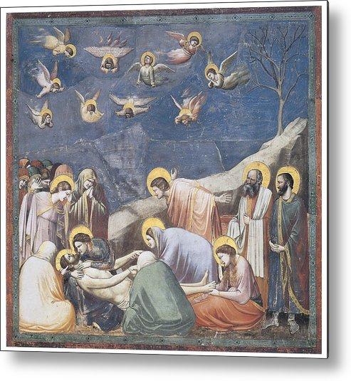 Giotto Di Bondone Metal Print featuring the painting Lamentation by Giotto Di Bondone
