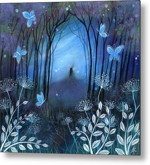 Landscape Metal Print featuring the painting Midnight by Amanda Clark