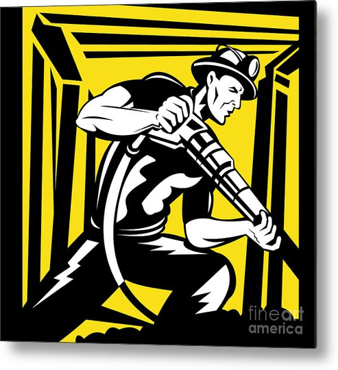 Illustration Metal Print featuring the digital art Miner With Pneumatic Drill by Aloysius Patrimonio