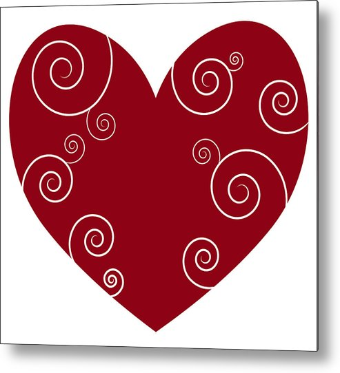 Red Metal Print featuring the painting Red Heart by Frank Tschakert