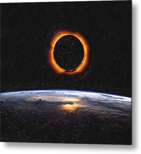 Sun Metal Print featuring the painting Solar Eclipse From Above The Earth Painting by Celestial Images