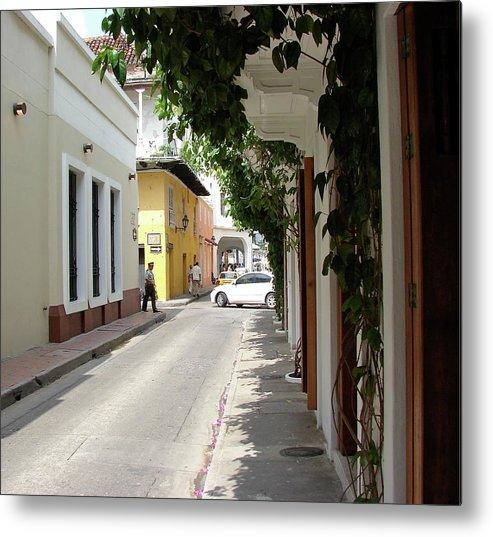 Street Metal Print featuring the photograph Street In Colombia by Brett Winn