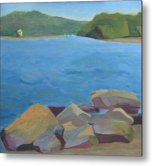 Water Metal Print featuring the painting View Of Hamburg Cove by Paula Emery