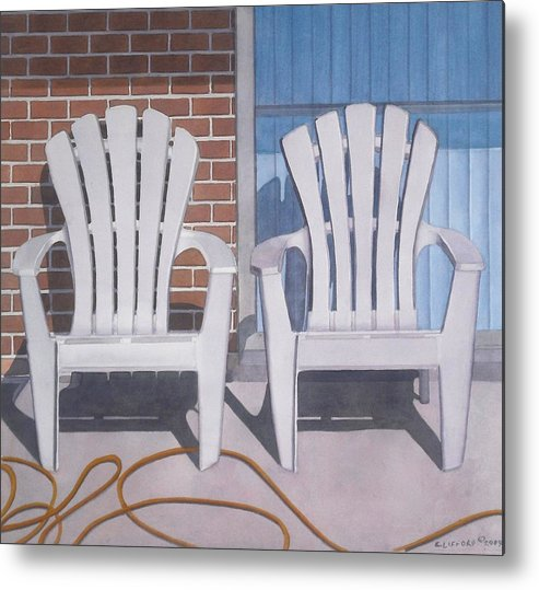 Adirondack Chairs Metal Print featuring the painting Yellow Garden Hose by Cory Clifford