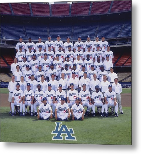 California Metal Print featuring the photograph 2004 Los Angeles Dodgers Team Photo by Mlb Photos