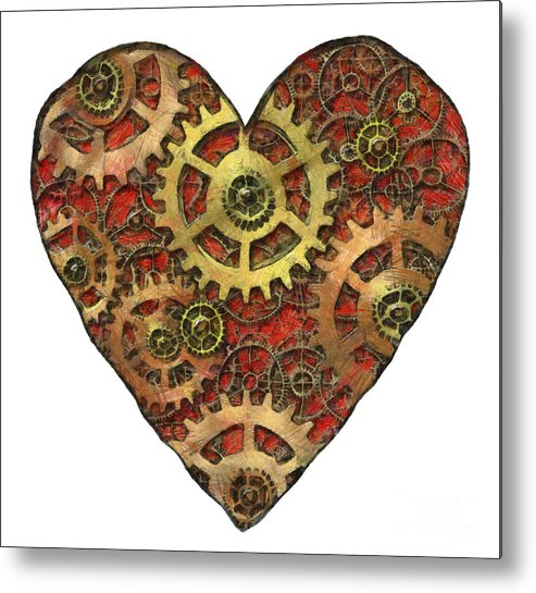 Heart Metal Print featuring the mixed media Mechanical Heart by Michal Boubin