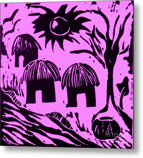Lino Metal Print featuring the relief African Huts Pink by Caroline Street