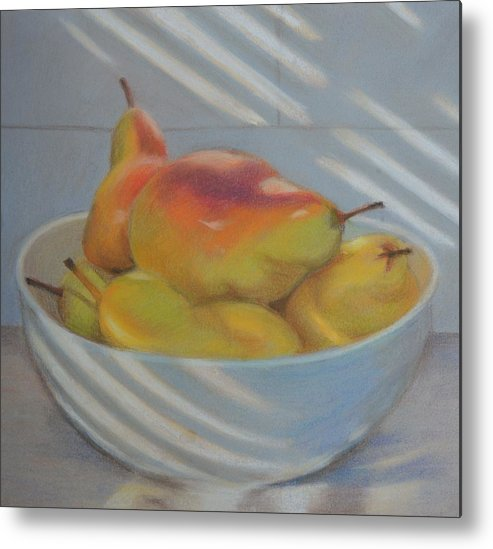 Fruit Bowl Pears Light Metal Print featuring the painting Blue Pears by Deanne Salter