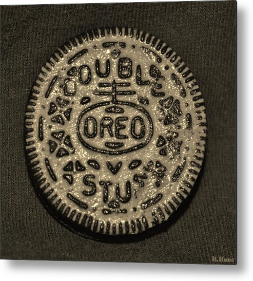 Oreo Metal Print featuring the photograph Double Stuff Oreo In Sepia Negitive by Rob Hans