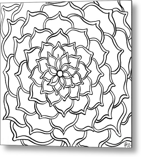 Floral Greeting Card Metal Print featuring the drawing Full Bloom I by Anita Lewis