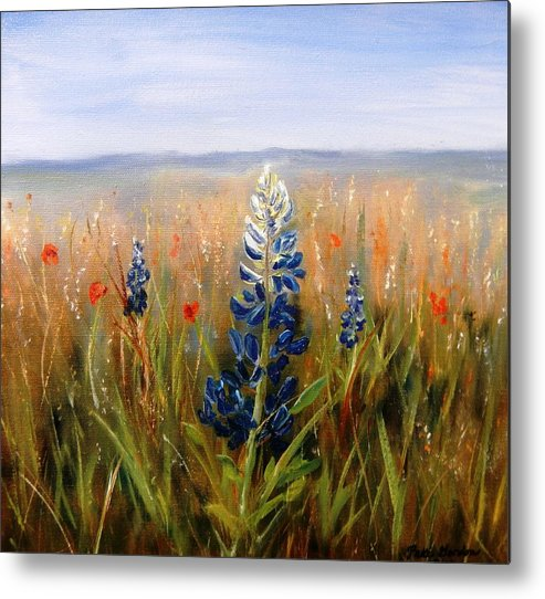 Landscape Painting Metal Print featuring the painting Lonely Bluebonnet by Patti Gordon