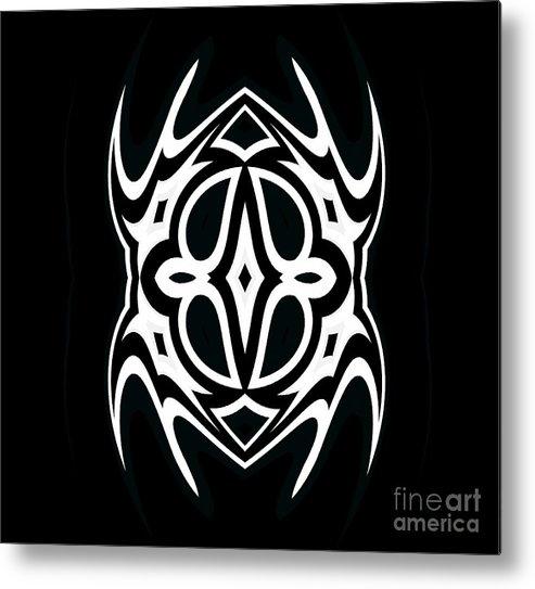 Abstract Art Metal Print featuring the digital art Minimalism Black White Ornament Art No.289. by Drinka Mercep