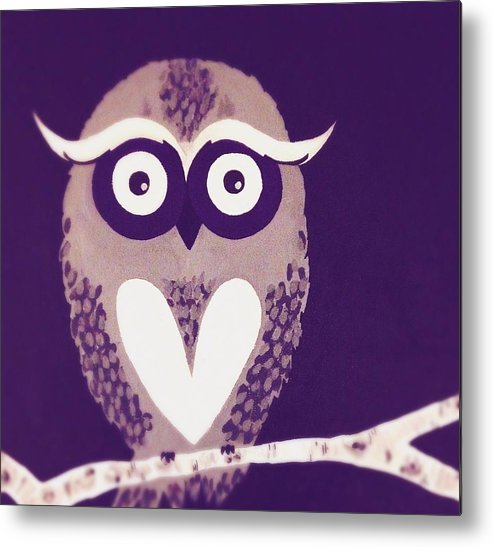 Owl Metal Print featuring the painting Owl 1 by Sarah Jane Thompson