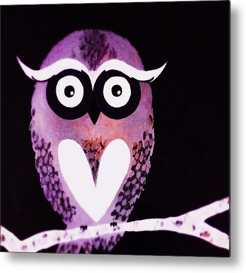 Owl Metal Print featuring the painting Owl 3 by Sarah Jane Thompson