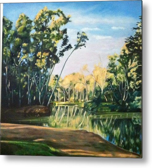 Landscape Metal Print featuring the painting River View by Deanne Salter