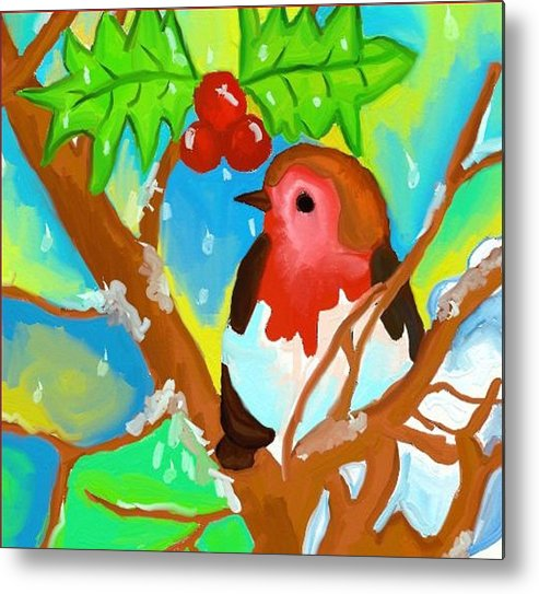 Robin Metal Print featuring the digital art Robin On A Branch by Goldy Berry Rod
