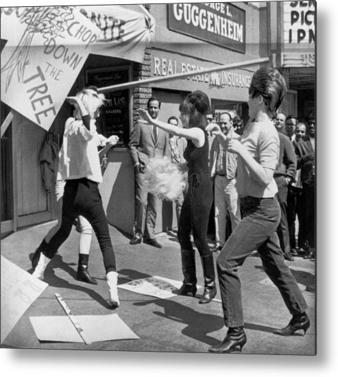 1966 Metal Print featuring the photograph Strippers On Strike by Underwood Archives