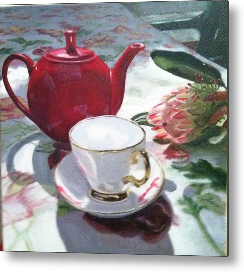 Still Life Metal Print featuring the painting Tea Time by Deanne Salter