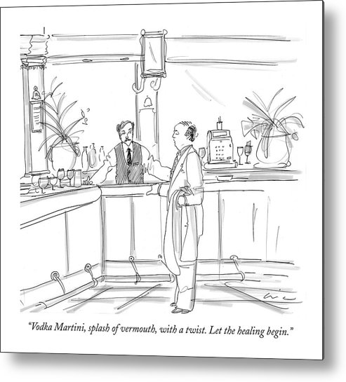 Dining Metal Print featuring the drawing Vodka Martini by Richard Cline