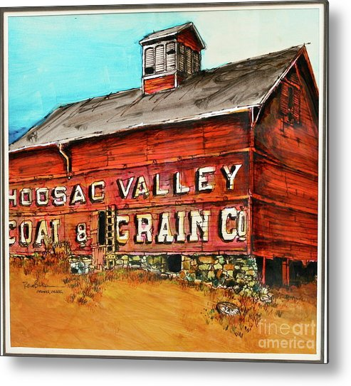 Red Barn Adams Mass Metal Print featuring the painting Red Barn Adams Mass by Robert Birkenes